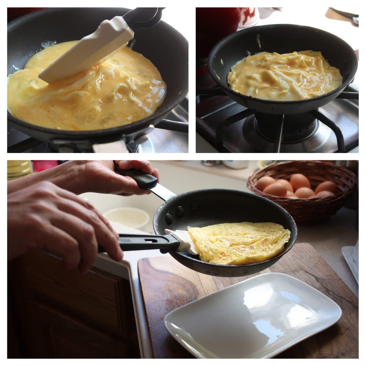 1. Beaten eggs are poured into a heated and oil pan, then the partially-cooked edges are pushed toward the center while allowing uncooked egg to flow toward the outer edges and underneath.  2. As soon as the omelette is half-set, flip over.  If you are filling your omelette this is when you would add them, always cheese first (to give it the most chance to melt).  3. Notice how I have my hands positioned in preparation of the final flip.  I've also partially folded at this point too.