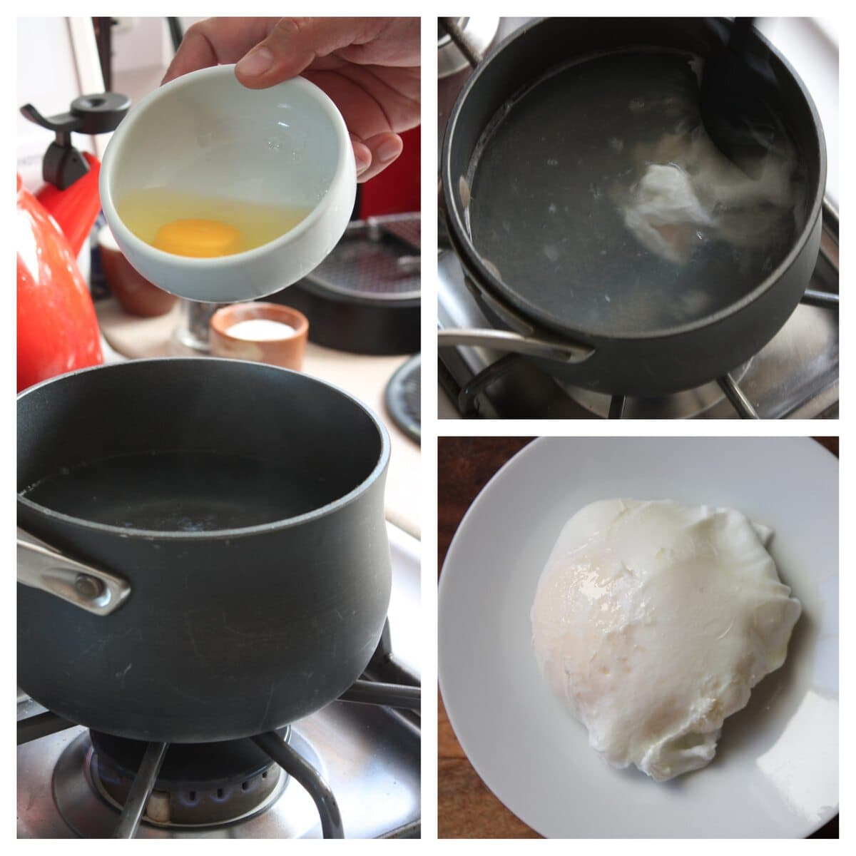 1. Simply drop an egg into a lightly simmering pot of water.  Add about a tablespoon of white vinegar to about a quart of water. 2. No so pretty in the making.  let egg cook for a 3 minutes.  3. Using a slotted spoon gently lift egg out of water.