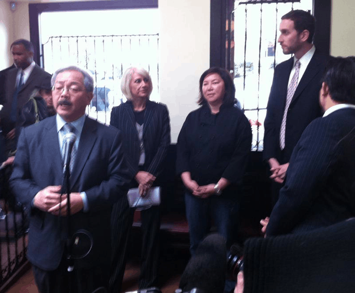 Yep, that's Mayor Ed Lee holding a press conference at the restaurant with me in the back trying not to pass out from stage fright.